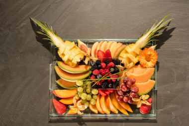 VIP tray fruit plate total on slate from above